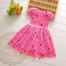 Платье для маленьких девочек, милое летнее Сетчатое платье принцессы с коротким рукавом, а-силуэта, с принтом в виде звезд для девочек, 2020 г. ...(China)