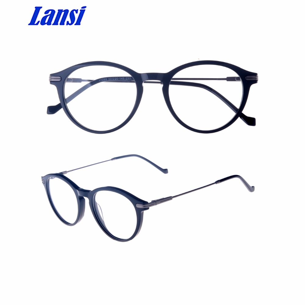 Acetate Eyeglasses Manufacturer Big Frame Material Eyewear With Metal Part
