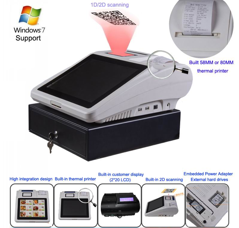 12 inch Cash Register All in One Device Windows/xp/linux Window10 Pos System Terminal