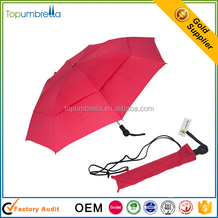 Auto Open Strong Windproof Double Layer 2 Fold Umbrella With Hole Inside