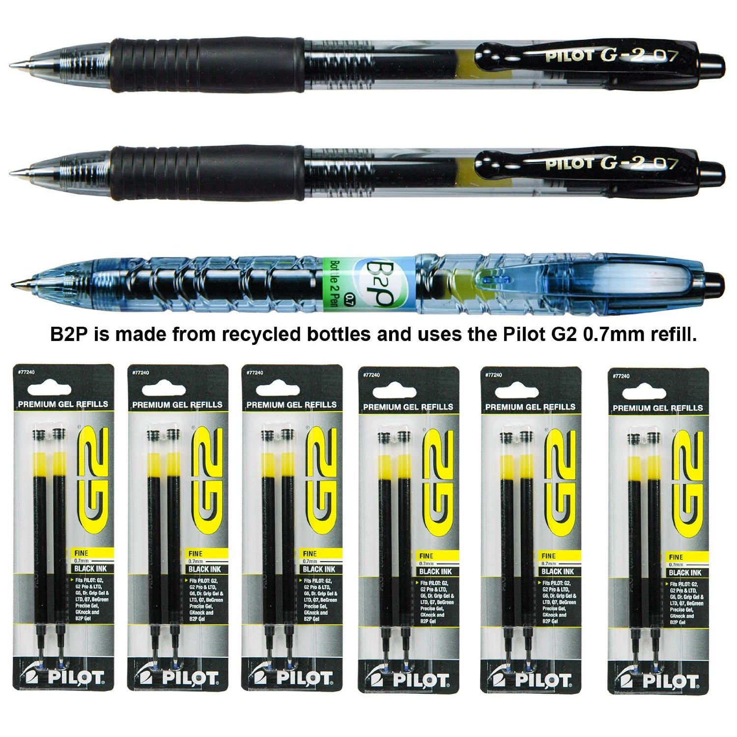 Pilot G2 07 Pen with Refills, 0.7mm Black Gel Ink, 9 Piece Assortment Pack