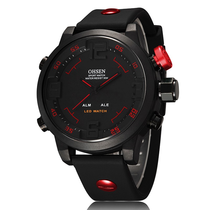 New Fashion OHSEN AD2802 Led Digital Watch Analog Quartz Watch Sports Watch Men Waterproof Relogio Masculino Casual wristwatches фото