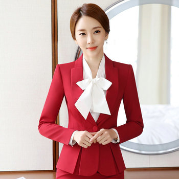 Wanita Wanita Custom Made Tuksedo Formal Kerja Setelan Kantor Bisnis Formal  Blazer Abu-abu 2240c23665