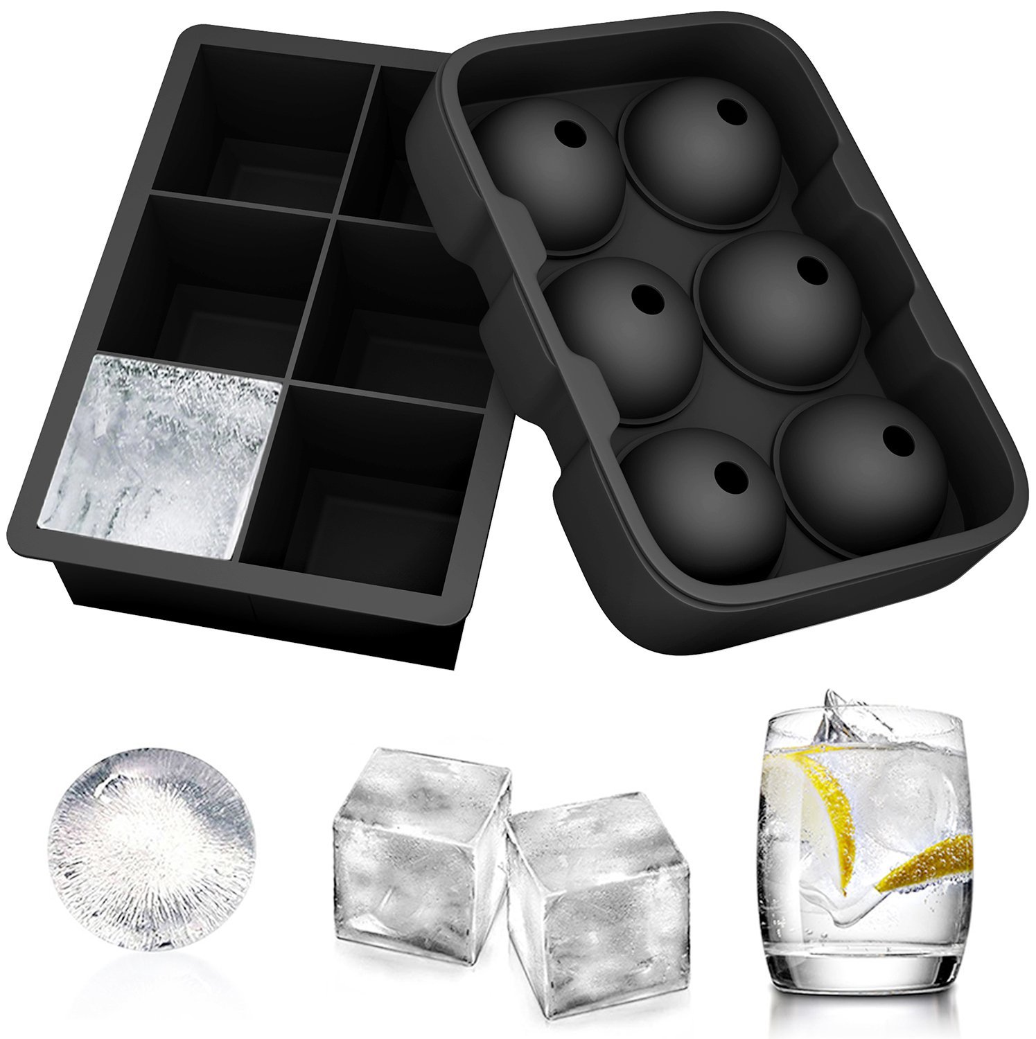 Ouddy Silicone Ice Cube Molds, Set of 2 Sphere Round Ice Ball Maker & Large Square Ice Cube Mold Ice Cube Trays