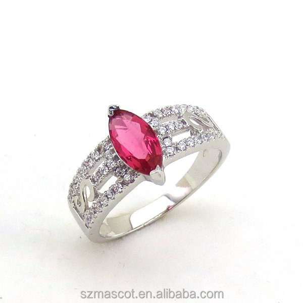 Sterling Silver Triple Row Marquise Ruby Crystal Engagement Ring