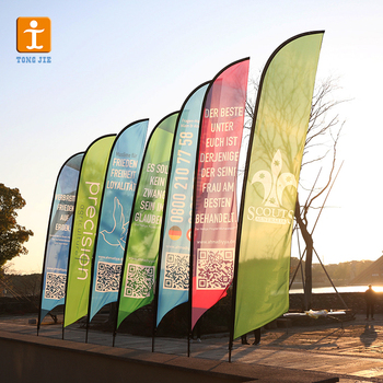 Polyester Feather Flag Promotional usage Advertising exhibition event outdoor Flying Beach Flag banner stand , Teardrop Flag