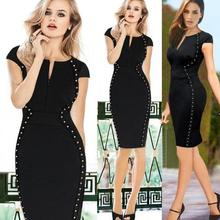 New Fashion Women Pencil Dress Studded Decoration Zipper Front Short Sleeve Mini Bodycon Fit Sexy One-Piece Black