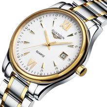 Hot! Homens relógio marca de luxo GUANQIN Quartzo Novos homens da moda Relógio Ocasional Relógio Vestido Homens relógio de Pulso relogio masculino