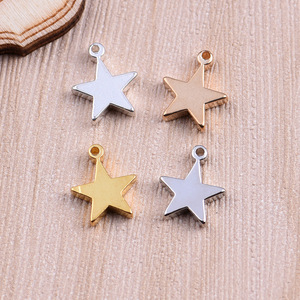 Solid brass pentagram drop loop charm 4 colored stereo copper star findings five-point star 12.5*10mm