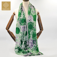 Printed Warm Luxurious Pashmina 100% Wool Women Stole Scarf In Winter