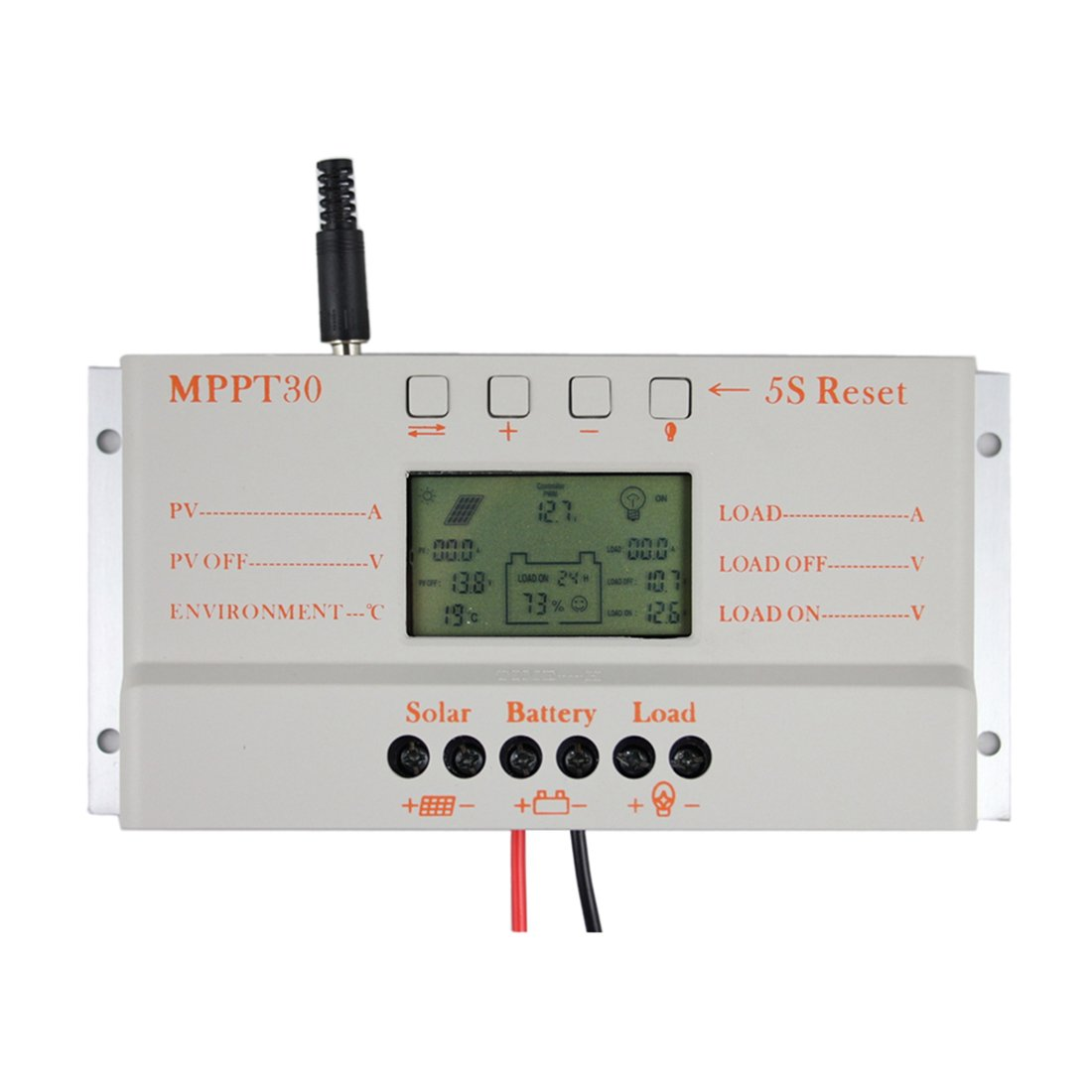 Y&H 30A Solar Charge Controller 12V 24V MPPT Charge Controller Battery Intelligent Regulator Temperature Compensation Dual Timer LCD Display USB 5V【Not True MPPT,Compatible MPPT + PWM Charging Mode】