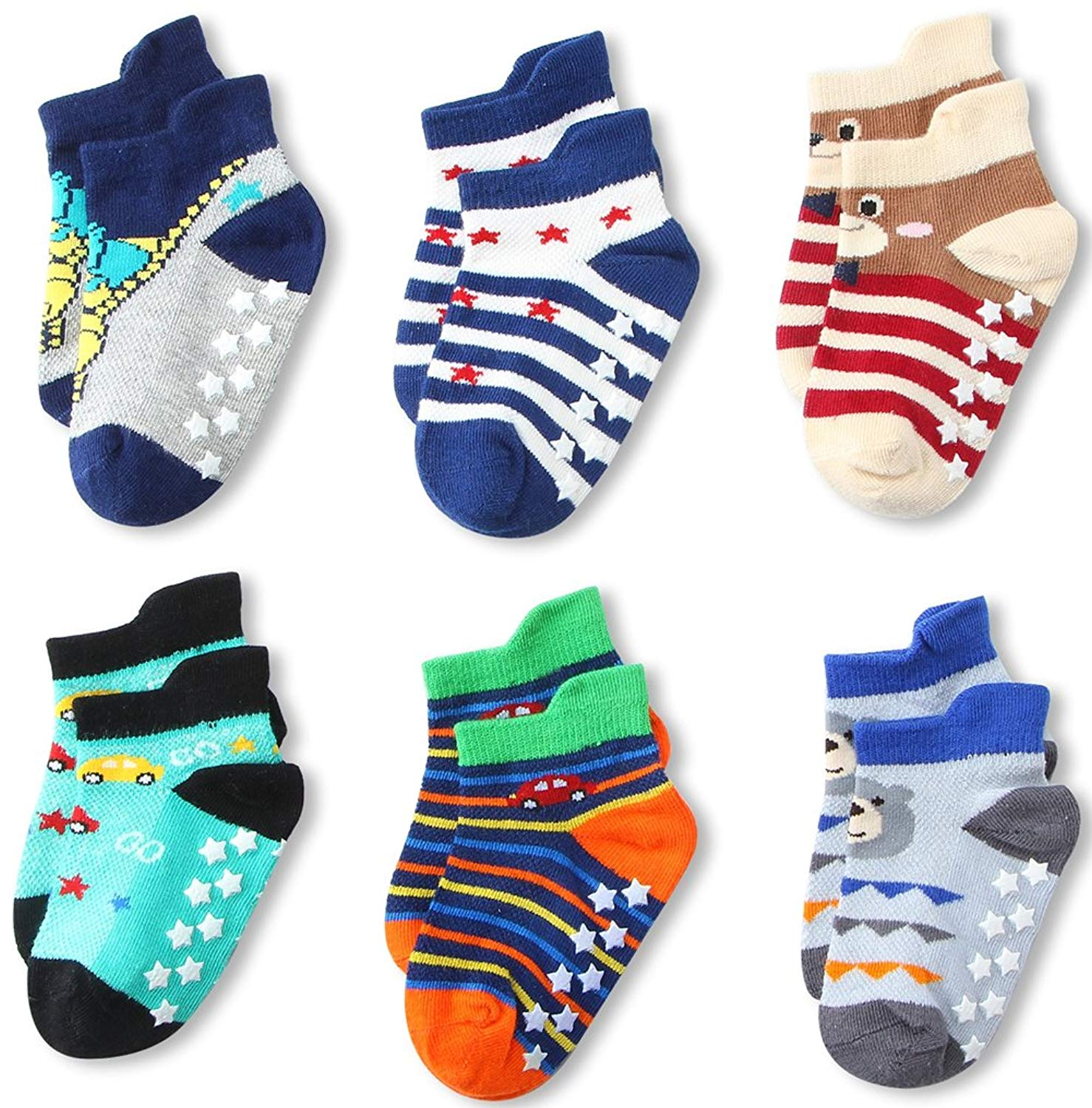 6 Pairs Toddler Boy Non Skid No Show Socks Low Cut with Grips, Baby Boys Anti-skid Slippers Ankle Socks