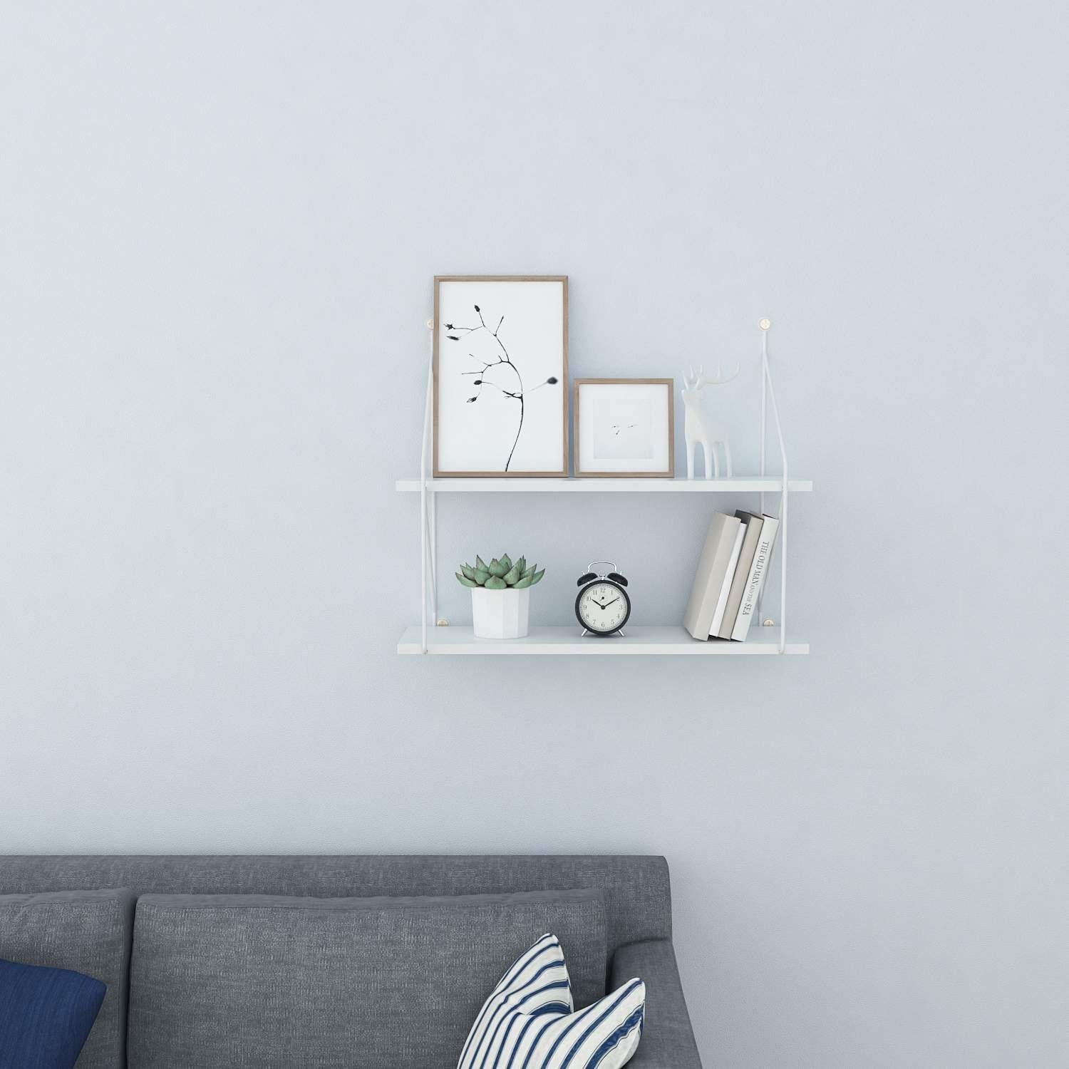 Utheing 2 Tiers Decorative Floating Wall Shelves Vintage Industrial Style Wall Mounted Storage Shelf for Books, Collectibles, Plants, Crafts, Photos (White)