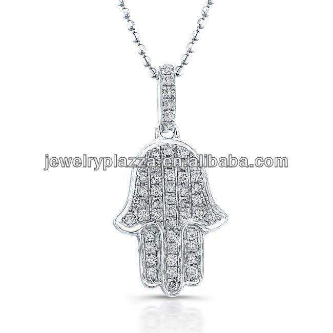 Wholesale 925 Sterling Silver Jewerly,14k White Gold Diamond Pave Hamsa Necklace(M-1793)