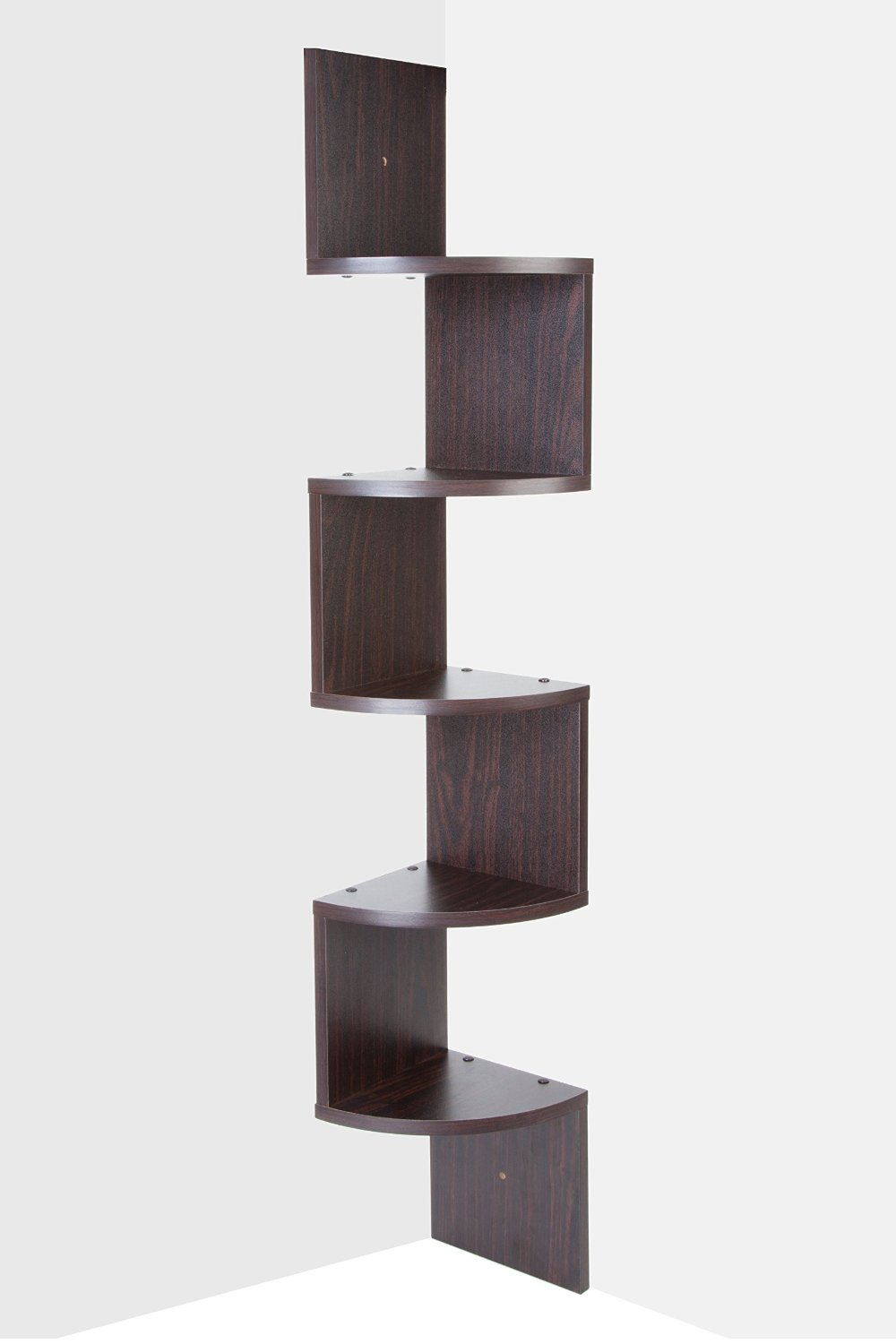 Get Quotations Saganizer Corner Shelf Brown Unit 5 Tier Shelves