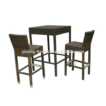 C Rattan 2 Person Tall Table And Chair Sets Bar Used Furniture