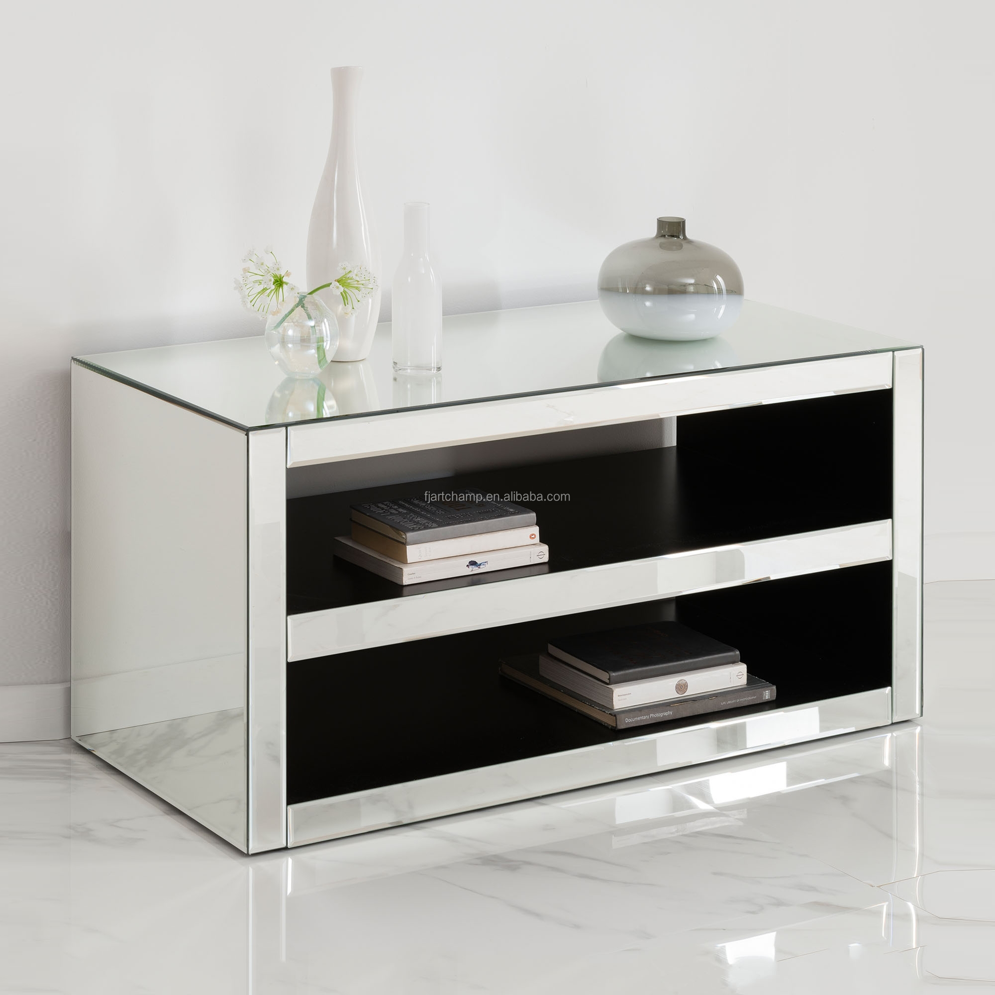 Kayu Solid Dalam Ruangan Cermin Sudut Meja Kaca Tv Modern Buy Meja Televisi Product On Alibaba Com