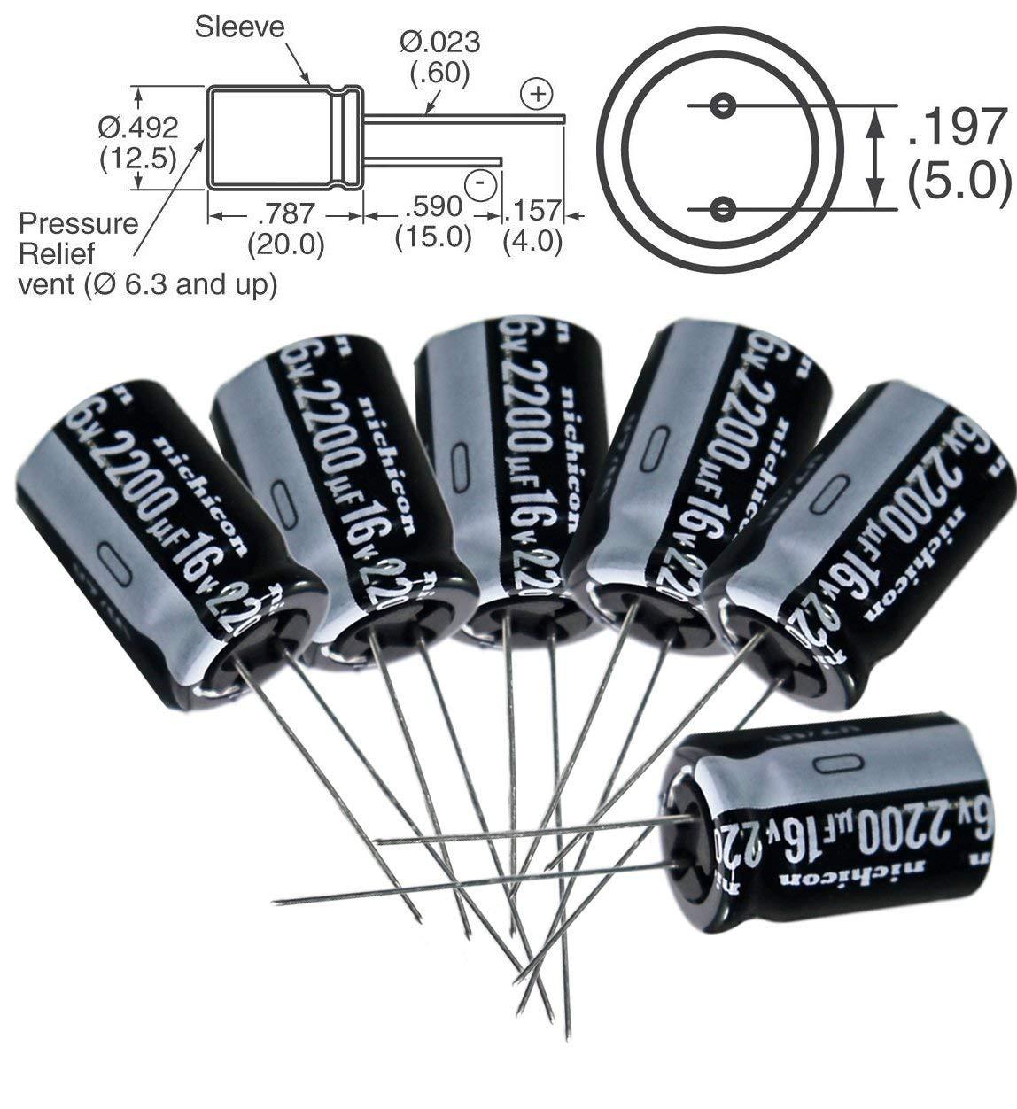 105C 25mm*13mm 5 x 2200uF 25 Radial Lead Aluminium Electrolytic Capacitors