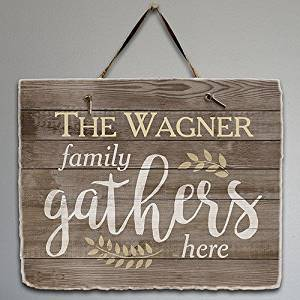 """Personalized Family Gathers Here Slate Plaque, 11.5"""" x 9"""", Hanging Strap Included"""