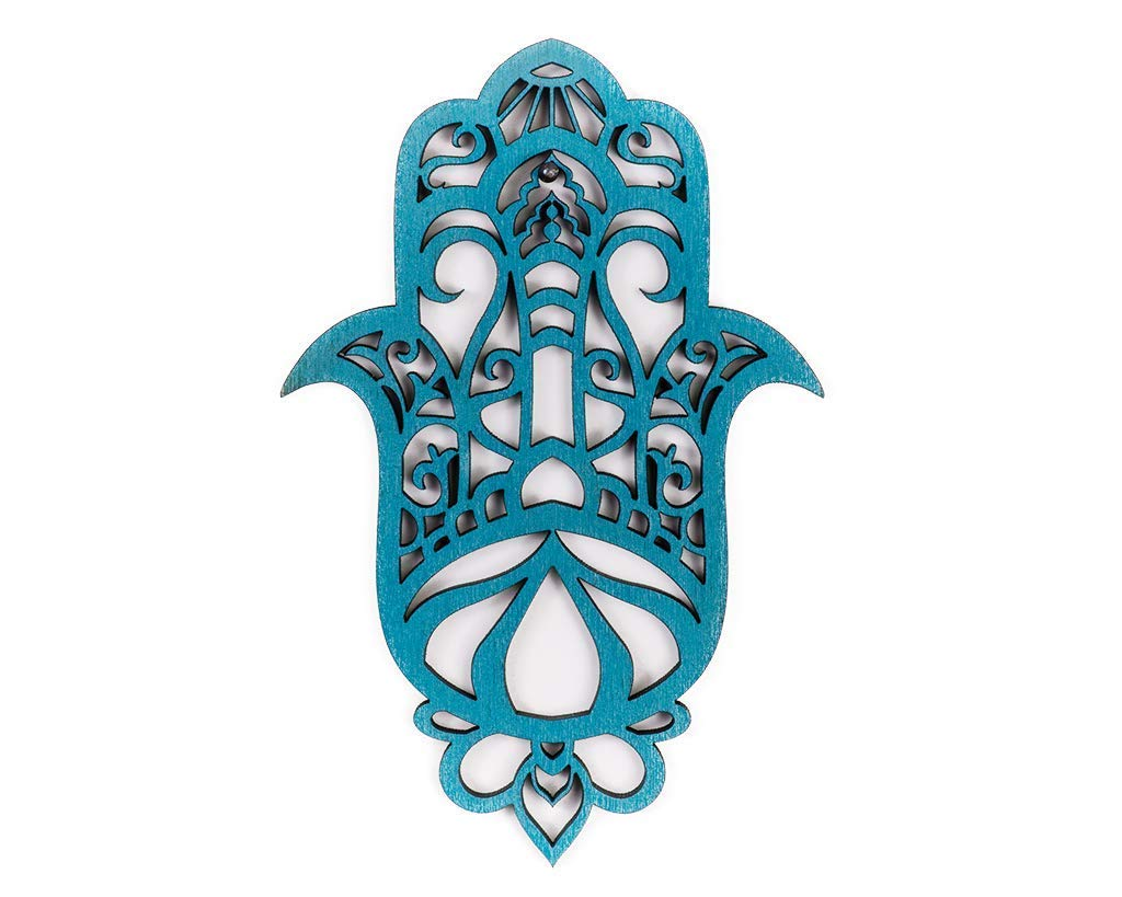 Hamsa Wood Wall Decor, Evil Eye Amulet Artwork, Spiritual Gift Home Blessing, Hand of Fatima Protection Amulet, Religious Turquoise Wall Hanging Décor, Israeli Art