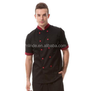 Wholesale Custom Western Restaurant Chef coat black with red uniforms short sleeve chef jacket unisex For Workwear