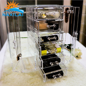 Newest Acrylic Makeup Organizer Clear Acrylic Box Magnifying Lid