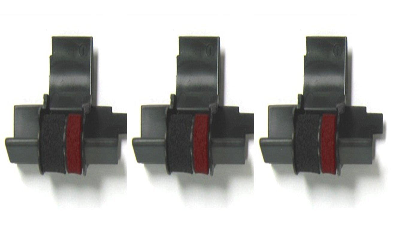 3 Pack - Compatible Seiko IR-40T Black / Red Ink Rollers , Works for SHARP EL1801P, SHARP EL1801PIII, SHARP EL2192, SHARP EL2620