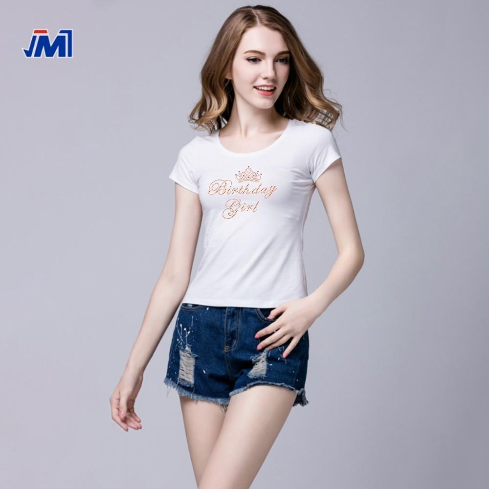 Custom afdrukken strass korte mouwen t-shirt voor vrouwen