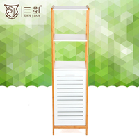 3 Tier Bamboo Corner Storage Cabinet Corner shelf With Laundry Bag