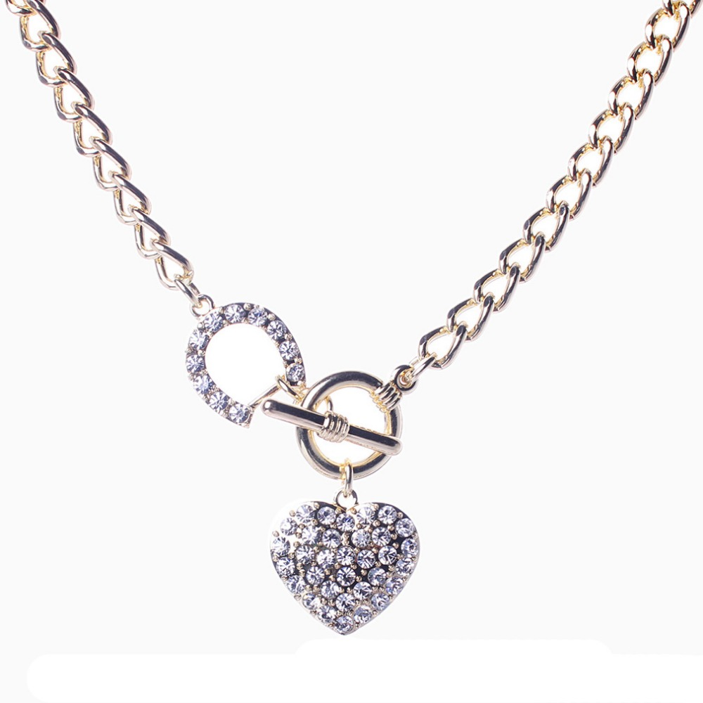 Crystal Heart Rhinestone Clip On Chain Gold Plated Choker Chunky Statement Jewelry Bib Short Necklace