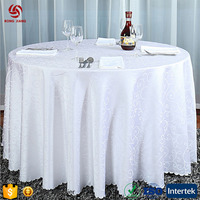 Wholesale Polyester Washable Embroidered White Wedding Table Covers Round Decorative Table Cover
