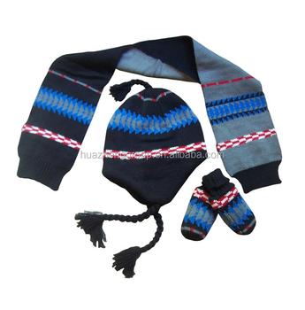f650e8c9870 Infant Boy Racer Stripe Knitted Hat scarf mitten Set - Buy Navy Blue ...