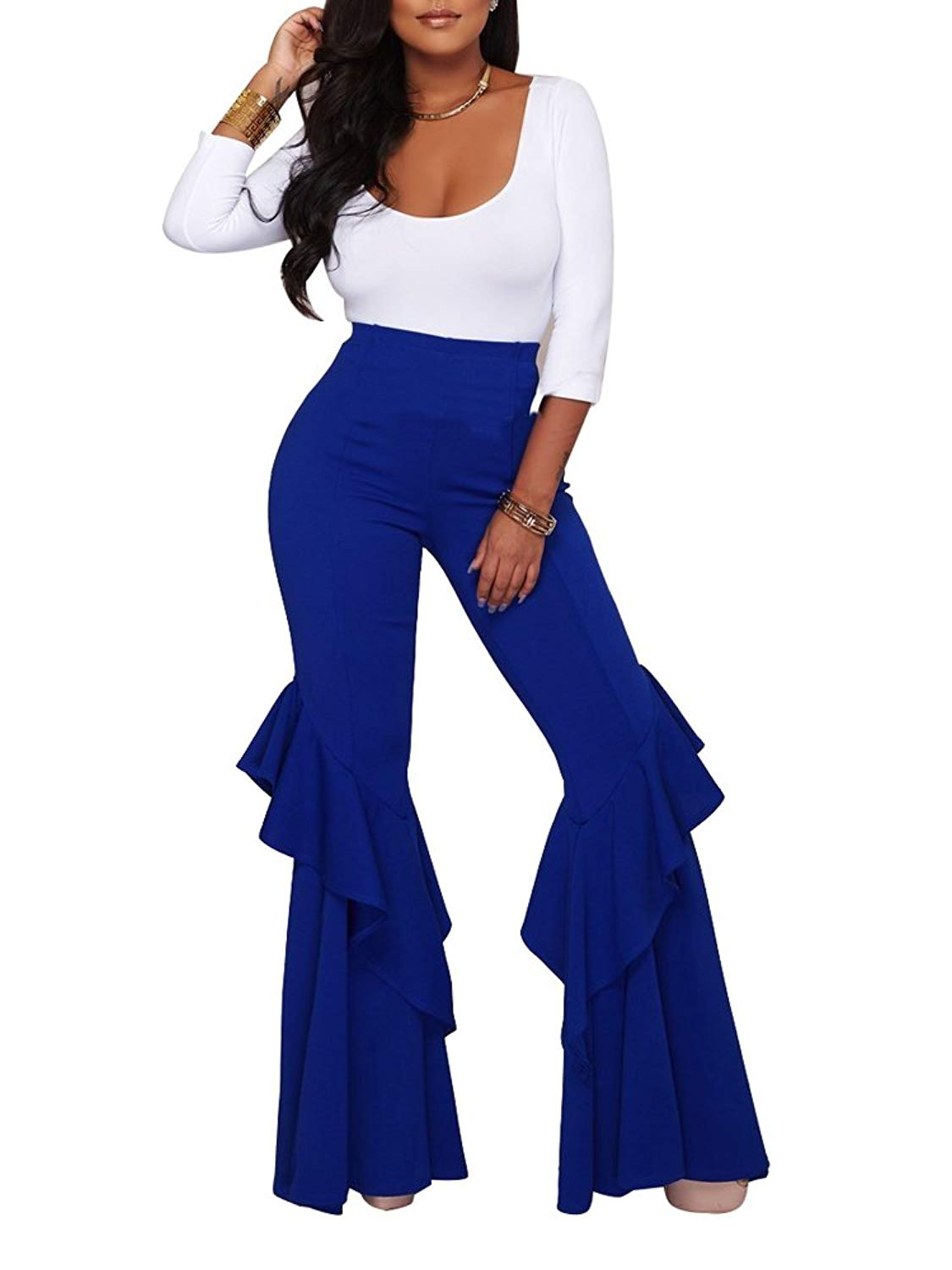 e1f7d25bb42 Get Quotations · FairBeauty Women s Sexy Sleeveless V Neck Ruffle Long  Flared Bell Bottom Pants with Belt Jumpsuits Rompers