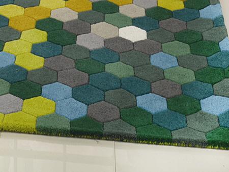 Cool Tone Hexagon 100 Hand Tufted Acrylic Area Rug Factory Whole
