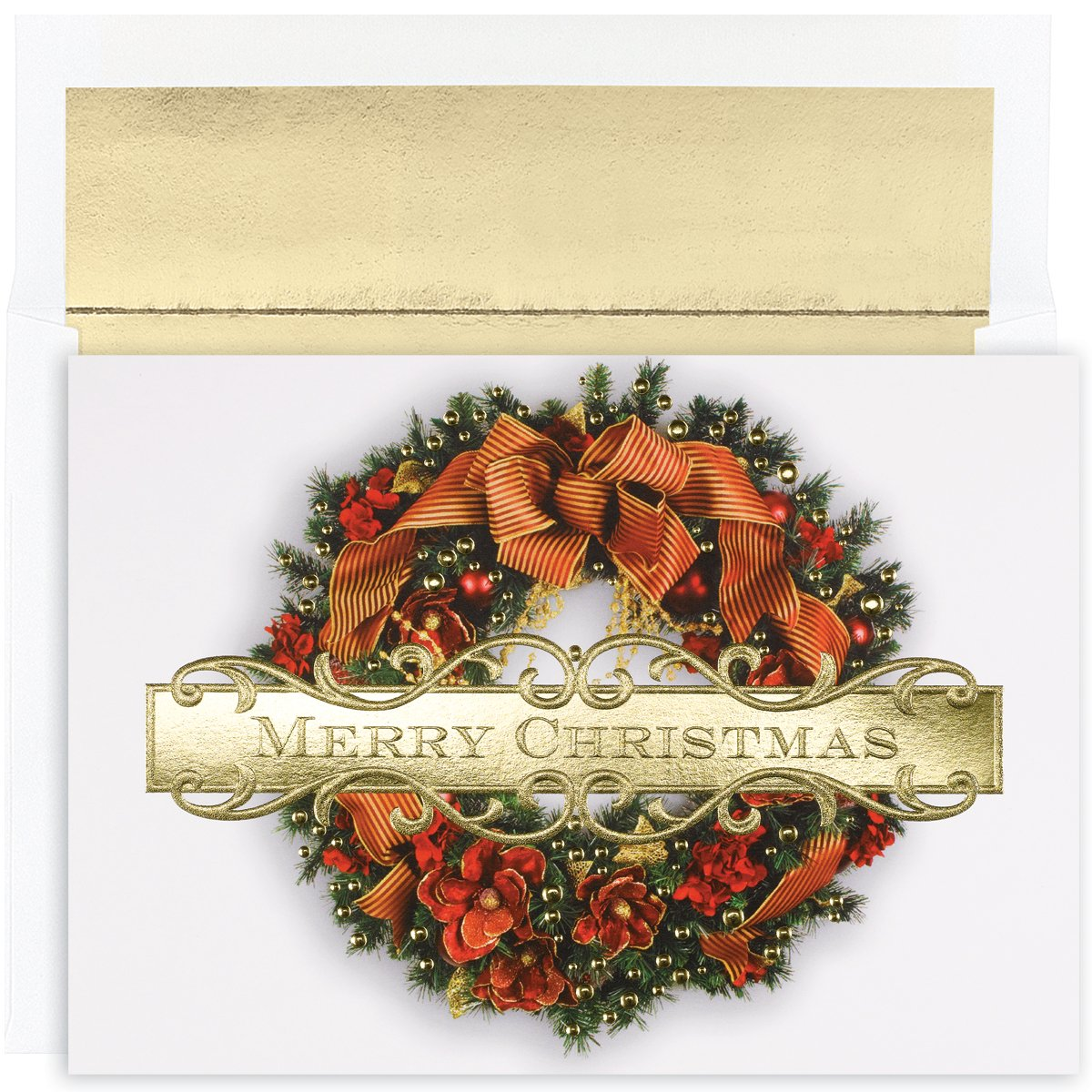 """Great Papers! Holiday Greeting Card, Christmas Wreath, 18 Cards/18 Envelopes, 7.875"""" x 5.625"""" (847900)"""