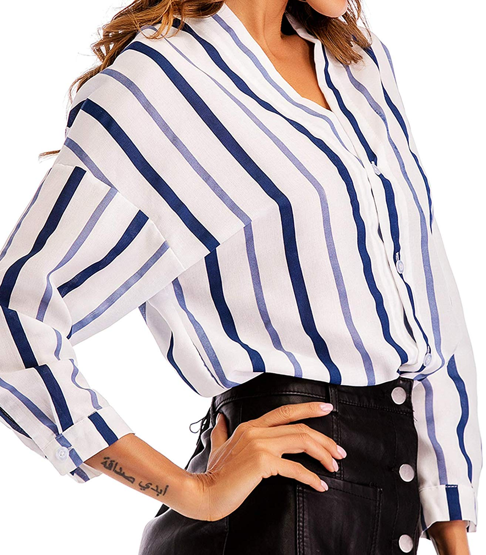 57c18d644 Get Quotations · Pame Women Long Sleeve Blouses Juniors Tunic Tops Blouse  Fashion Block Stripes Work Shirt Casual V