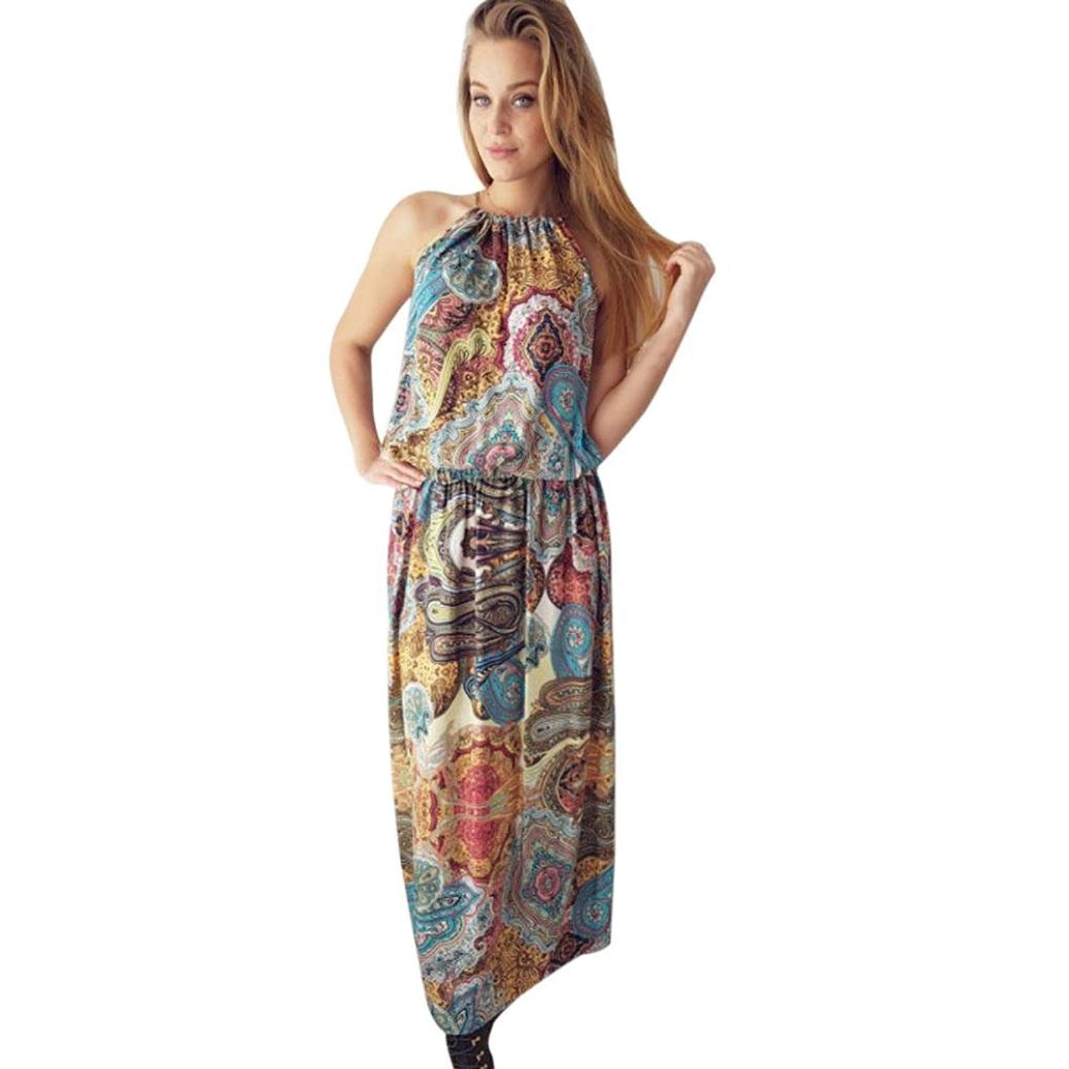 Caopixx Boho Dress, Womens Summer Vintage Boho Long Maxi Dress Evening Party Beach Floral Dress