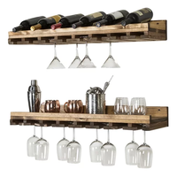 Rustic Luxe Tiered Wall Mounted Wine Glass Rack
