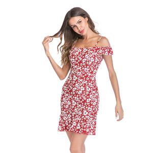 7f3659b996c16 Women's Chiffon sling dress Lotus Leaf Showing Shoulder Flying Sleeve  Broken Flower Dress