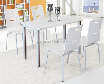 White Color Wood Folding Table And Chairs 4 Person Restaurant