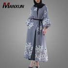 New Stylish Women Islamic Clothing Abaya Muslim Dress Flower Embroidery Kimono Abaya Open