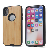 Luxury real wood bamboo combo hybrid tpu wood phone case for iphone xs protector case