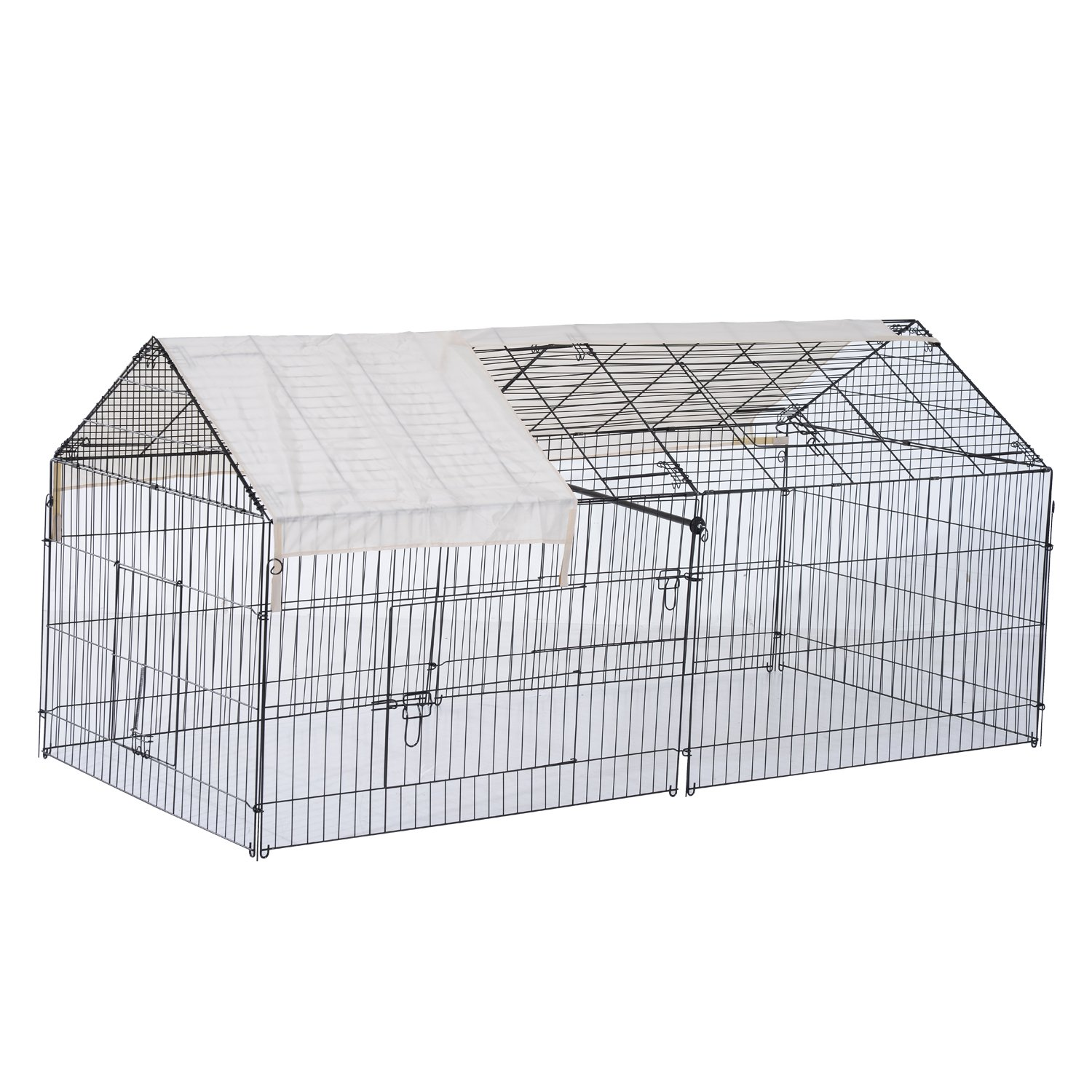 """PawHut 88"""" Metal Outdoor Small Animal Enclosure with Protective Cover - Black/White"""