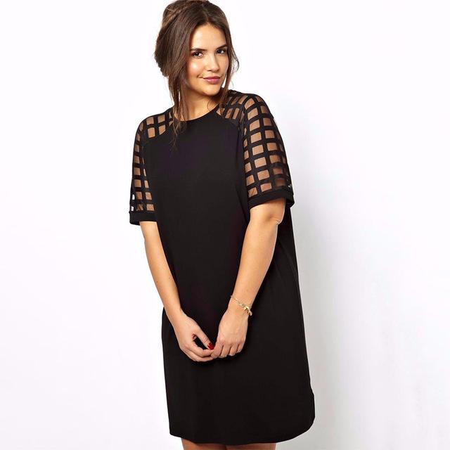 d3a49cfe97e 6xl мини черные Dresses большой размер 5XL Vestiods плед лоскутное с  коротким рукавом 4XL Большой размер