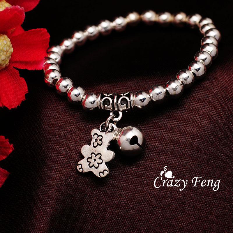 Женщины в браслет 925 серебро эластичный до запястья бусины браслеты и браслеты медведь подарки