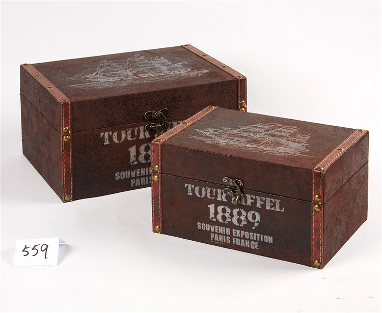 Decorative Wooden Box Vintage Hat Storage Boxes
