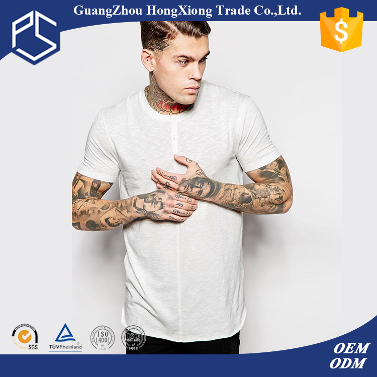 China Factory Hongxiong Latest Style Fashionable 180 Grams Short Sleeve Button Neck Plain White Men El T-Shirt