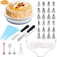 39 Pcs cake stand cake decorating piping tips set - Cake decorating supplies icing nozzle kit