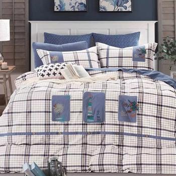 Fashion Big Ling Size Striped King Bedding Set Washed Cotton Bird Print Bed  Sheets