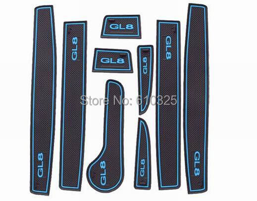 Car Blue Gate Slot Pad Cup Mat Armrest Storage Pad Anti-Slip Mat For BUICK GL8 2011~2014 Retail/Set Free Shipping